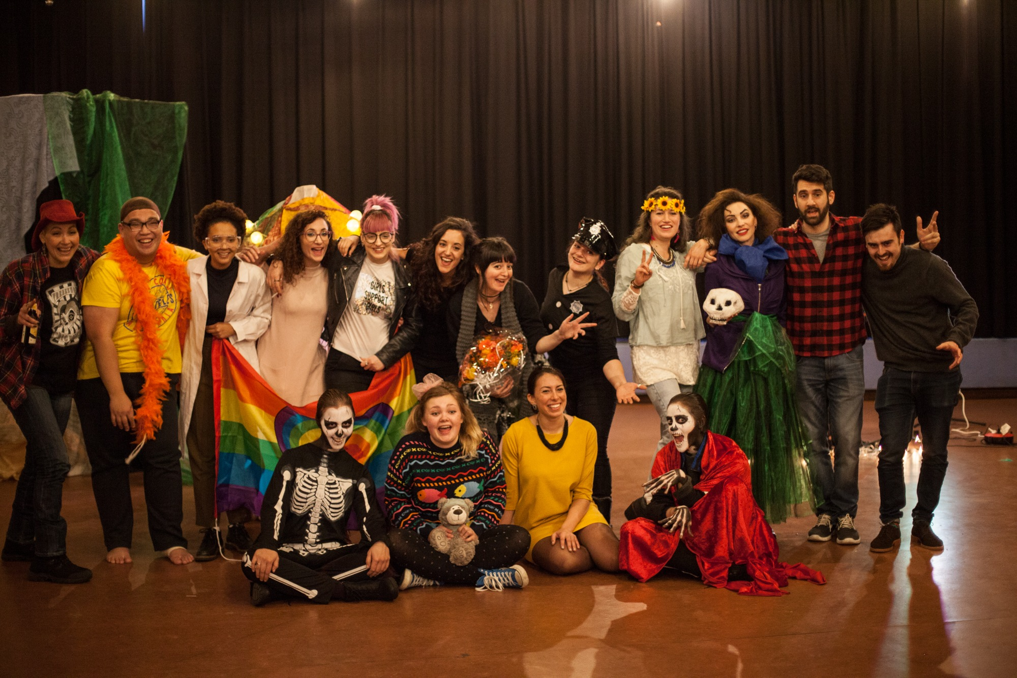 Act Attack group photo. Some people dressed in carnival or halloween costumes