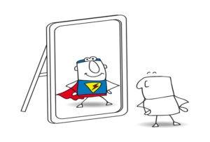 Cartoon man sees his reflection in the mirror as a super hero. Join our online courses!